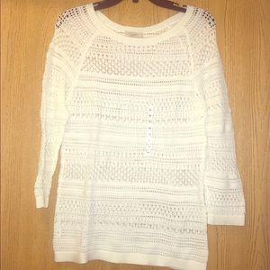White Loft crochet sweater.